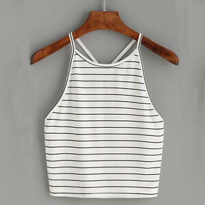 Summer Sexy Womens Backless Vest Tank Ladies Sleeveless Striped Crop Tops Blouse