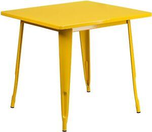 "Flash Furniture Commercial Grade 31.5"" Square Yellow Metal Indoor-Outdoor Bar..."