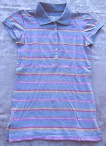 Aeropostale Polo Top - Gray with Colored Stripes - Collar - Size Small
