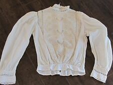 Vintage Victorian Lace Blouse Ruffled Shabby Boho Chic S Small Off White