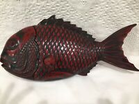 """Vintage Japanese Lacquered Fish Lidded Box Bowl Tray Carved Cinnabar 15"""""""