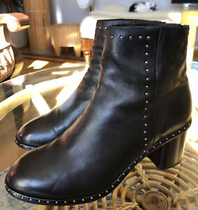 Rag & Bone Black Leather Willow Studded Ankle Boots Size US 7.5/ EU 38 GREAT