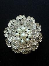 Pearl Crystal Vintage Brooch Bouquet Pin / Cake Jewellery / Invitation Buckle