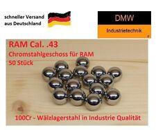 50 St Cal .43 Chromstahlkugeln gehärtet Industrie Qualität Passgenau für RAM T4E
