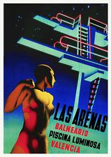 Art Deco Poster 1930s Spanish Illuminated Lido Las Arenas Valencia Balneario