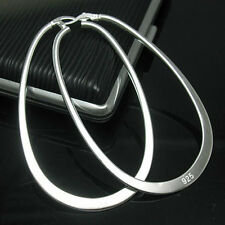 Solid Silver Fashion Jewelry Large Flat U Shape Hoop Woman Earrings E001