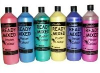 6 X PEARLESCENT ASSORTED COLOUR READY MIXED PAINT 284ML