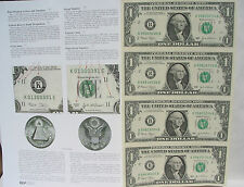 2=1+1 RARE: 4 US Bill $1 In One Uncut Sheet New 2009+Infor. +1 Old Cent US Coin