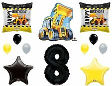 12pc CONSTRUCTION BALLOONS new 8th EIGHTH birthday TRACTOR party FAVORS truck