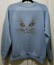 New listing Vintage! Oversized *Blue* Glitter Cat Sweatshirt Rhinestones Shirt Top Sparkly L