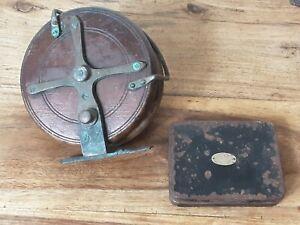 Vintage Hardy Bros of Alnwick Metal Fly Tin & Large Vintage Wood & Brass Reel