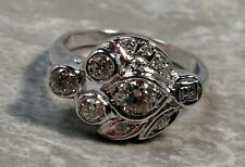 Antique 1920's White Gold .70ctw Diamond Flowing Leaf Cocktail Ring