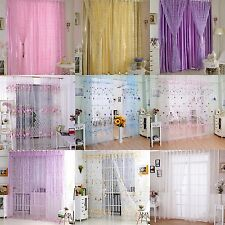 Colorful Printed Sheer Curtain Panel Window Balcony Tulle Room Divider Valances