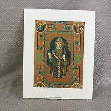 Antique Illuminated Print Religious Icon Saint Priest Bishop  19th Century