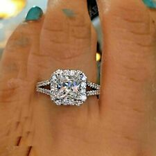 Certified 2.75Ct Cushion Cut White Diamond Engagement Ring in 14K White Gold