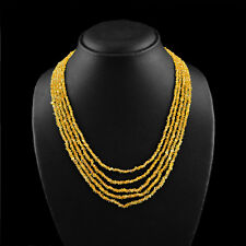 171.00 CTS NATURAL RICH YELLOW CITRINE 5 STRAND ROUND FACETED BEADS NECKLACE