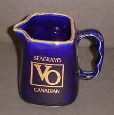 SEAGRAM'S VO CANADIAN WHISKY PITCHER CERAMIC WATER JUG GOLD TRIM 6YR