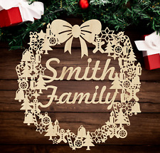 Personalized Christmas Wreath w/ Family Name | Birch Wood Custom Holiday Wreath