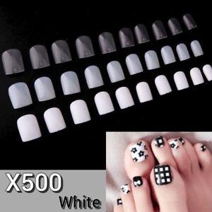 500pcs White Acrylic Gel DIY Nail Art Full False Foot Toe Nail Art Tips