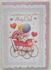 Congratulations on your new Baby Girl greeting card 12x18cm