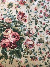 """1 PAIR WAVERLY Fieldcrest 42""""X 86"""" Panels Drapes Curtains Floral Vintage Rose"""