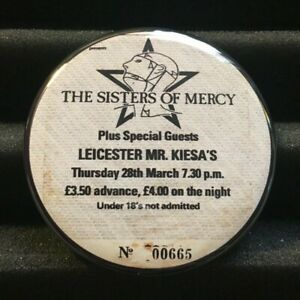 """Sisters Of Mercy Concert Ticket Stub Pin Button Badge 2.25"""" Goth UK Tour 1985"""