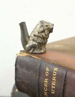Vintage Lion Head Smoking tobacco pipe antique brass or tin parts as is