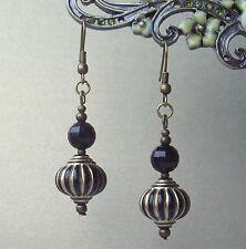 Bohemian Black Gold Lantern Bead Bronze Drop Earrings in Gift Bag