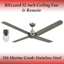 "Blizzard 316 Marine Grade Stainless Steel 52"" Outdoor Ceiling Fan and Remote"