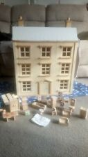 Wooden Dolls House 4 Storey With Furniture