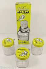 VINTAGE SET OF 3 OSTERIZER 1/2 PINT MINI-BLEND PLASTIC CONTAINERS W/BOX UNUSED!
