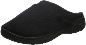 isotoner Women's Terry and Satin Slip On Cushioned Slipper with Memory Foam for