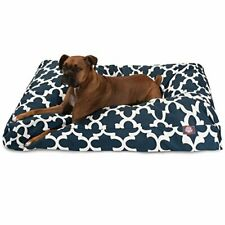 New listing Navy Trellis Extra Large Rectangle Indoor Outdoor Pet Dog Bed With Removable .