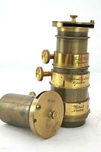 "TRIPLE RACK TELESCOPIC brass OPTICAL magic LANTERN lens, 6.5 or 11"" petzval ?"