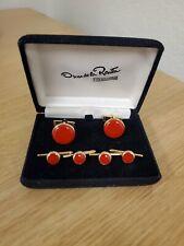 Oscar De La Renta Formalwear Men's Accessories Red Cufflink & Stud Set