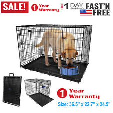 """36"""" Dog Crate w/Divide w/Tray Fold Metal Pet Cage Kennel House for Animal US"""