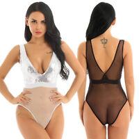 Women Dance Bodysuit Jumpsuit Sequins Catsuit Romper One-piece Nightwear Teddies