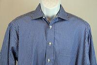 Burberry London Mens 16-34 Blue Striped Long Sleeve Dress Shirt
