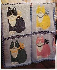 CAT'S MEOW CROCHET Afghan PATTERN OOP Kittens Kitty Make Any Color Your Want