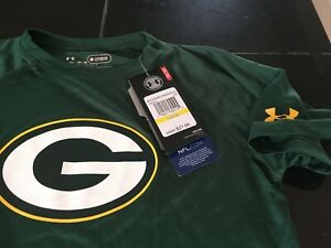 BOYS/GIRLS YOUTH UNDER ARMOUR COMBINE GREEN BAY PACKERS T SHIRT YMD MEDIUM NWT