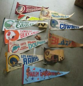 Vintage Lot of 12 Sports Pennants NFL Football & Basketball