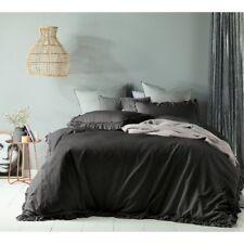 Queen Bed Maison Linen Cotton Doona Quilt Cover Set Slate