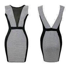 Unbranded V Neck Stretch, Bodycon Striped Dresses for Women