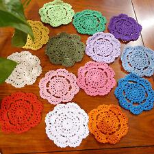 """15Pcs/Lot Hand Crochet 4"""" Round Small Doilies Set Snowflake Floral Color Random"""