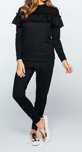 New Womens Ladies Jersey BlackRuffle Loungewear Set Pants Sizes 8-12