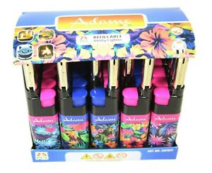 1 Refillable Utility Lighter Pink And Blue Flower Design  23g 12x2cm