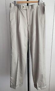 Alan Flusser Beige No Iron Mens Cotton Pleated Golf Pants Size 32 X 32…New!