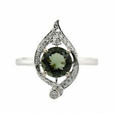 Moldavite Round 0.93 Ct Halo Ring With Diamond Accent In 14k White Gold (40379)
