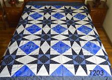 Shade of Blue Machine pieced patchwork Star quilt top/#T203
