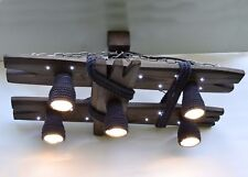 Wooden chandelier with LED spots and shades of cotton rope, ceiling light, night